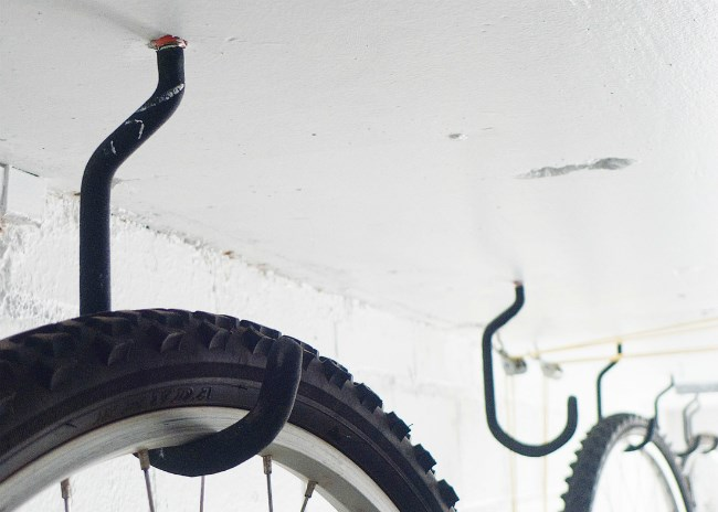 Hooks on wall for bike
