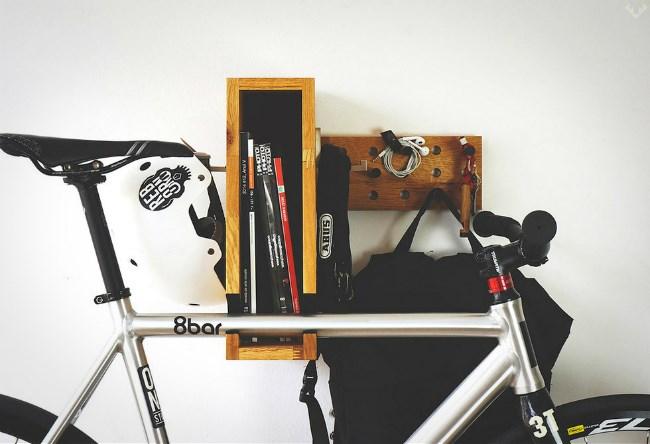 Wooden bicycle shelf