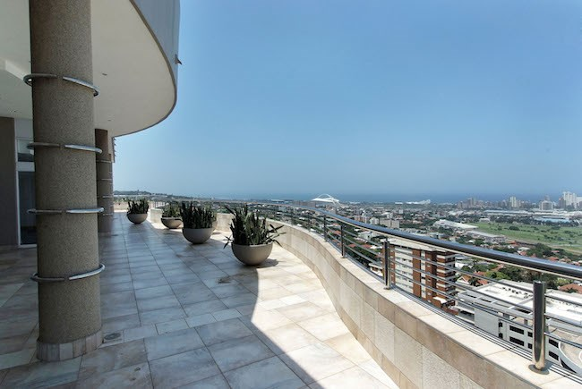 Balcony sea view of an R18 million penthouse sold in Berea