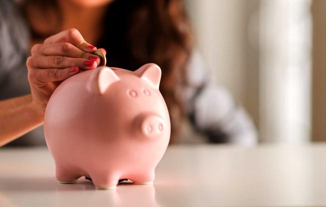 Piggy bank savings jar, young people needing to save money
