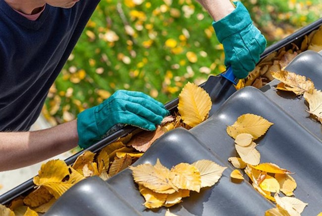Cleaning the outside gutters of your home