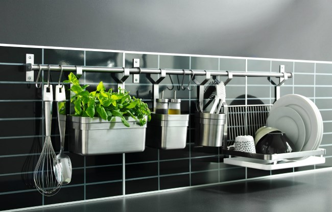 Wall racks in a kitchen for extra storage space