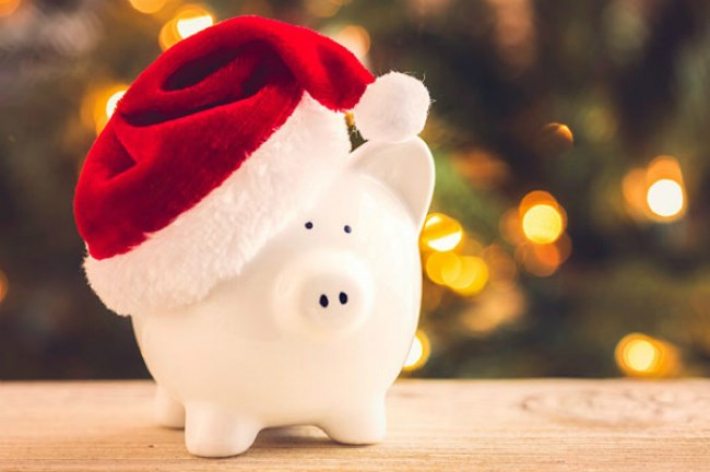 Christmas piggy bank with a santa hat