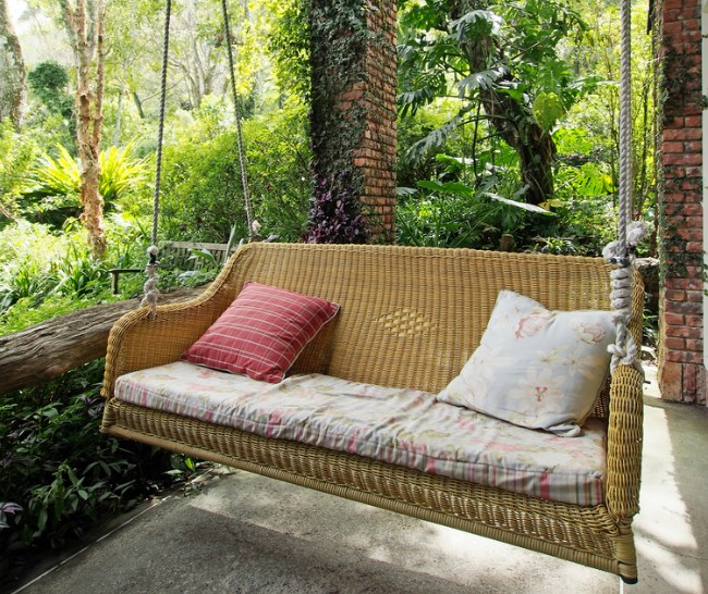 Hanging chair on patio