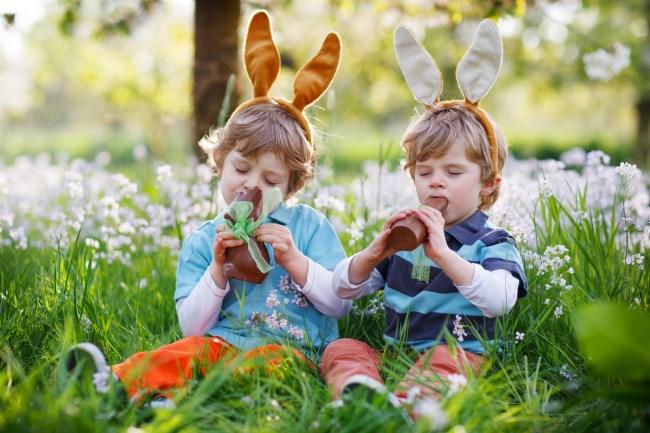 Kids in the garden easter egg hunting