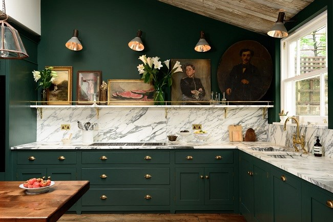 interior design of green kitchen