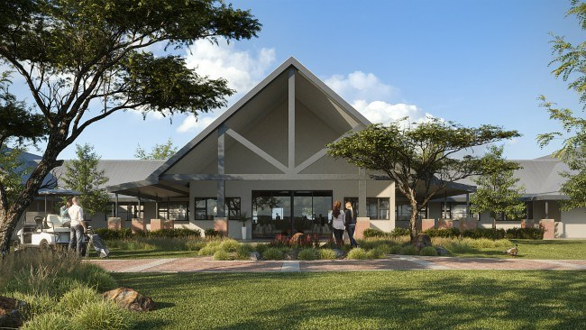 front view of the clubhouse at Heron Banks Golf and River Estate