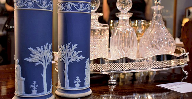 Beautiful Wedgewood vases and crytal