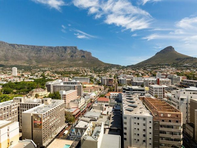 Table mountain seen from Cape Town apartment