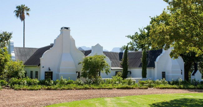 front view image of a wine farm house in Franschhoek