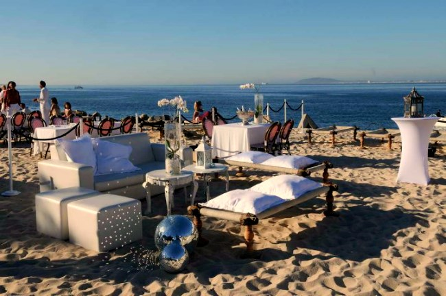 The outdoor cafe set up of the Grand Café and Beach in Cape Town
