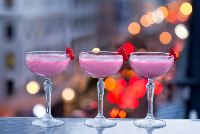 Image of pink cocktails at Sky Bar at the Grand Daddy Hotel